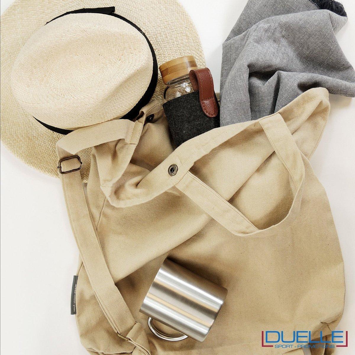 shopper e zaino in cotone riciclato pesante colore naturale