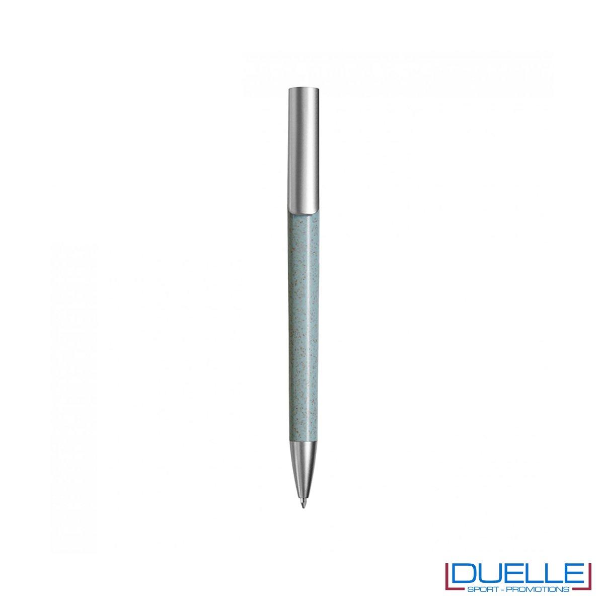 Penna ecologica in fibra di grano colore azzurro personalizzata