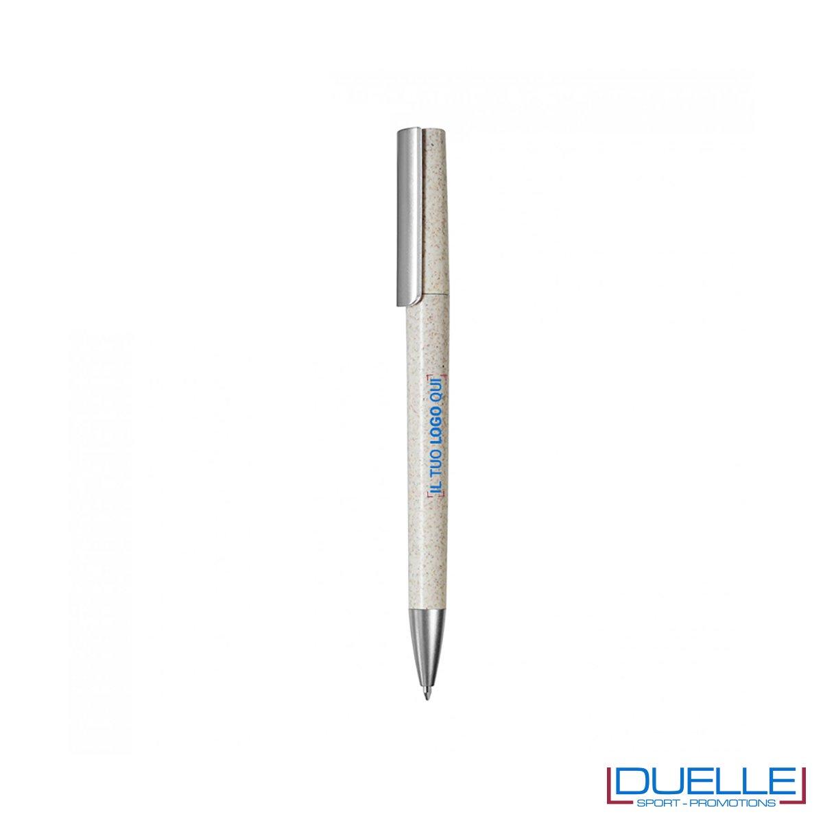 Penna ecologica in fibra di grano colore naturale personalizzata con stampa a colori