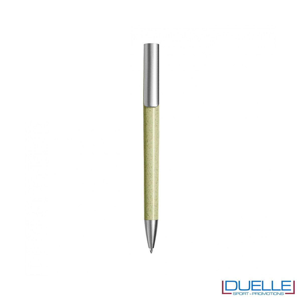 Penna ecologica in fibra di grano colore verde personalizzata