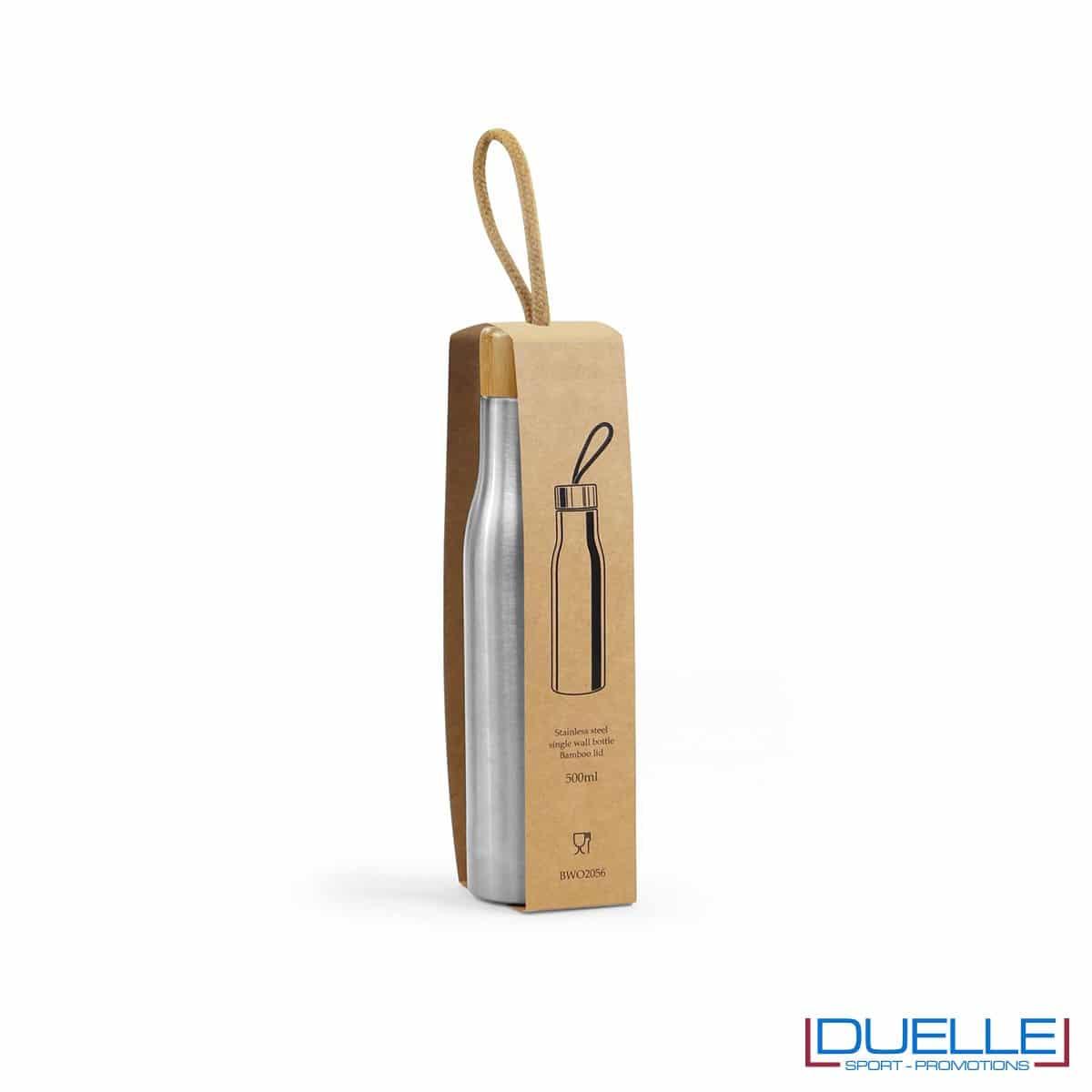 Borracce 500ml in acciaio inox con tappo in bambù personalizzata