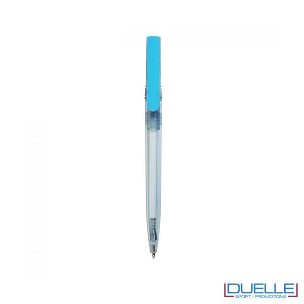 Penna in R-pet 100% riciclata clip colore azzurro