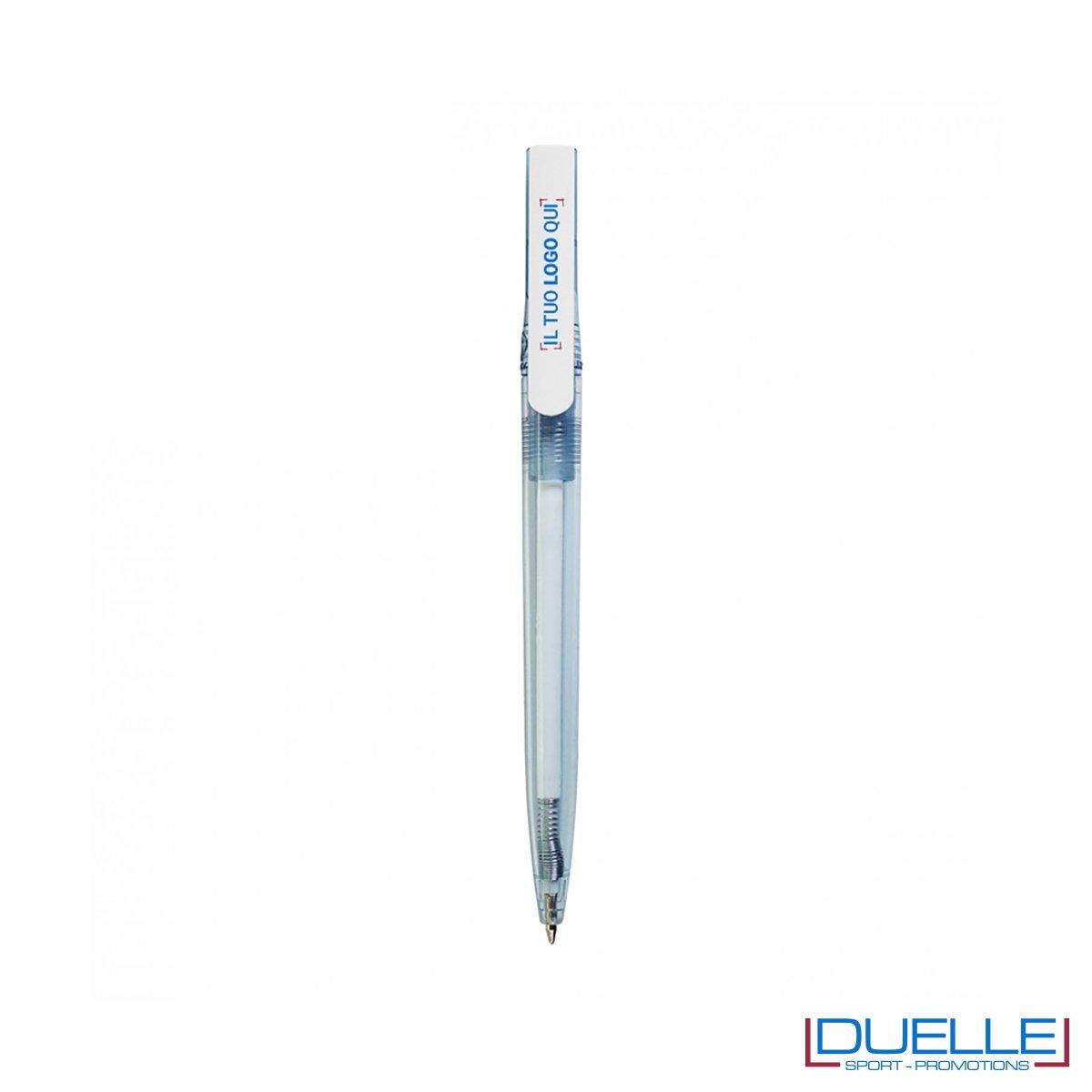 Penna in R-pet 100% riciclata clip colore bianco