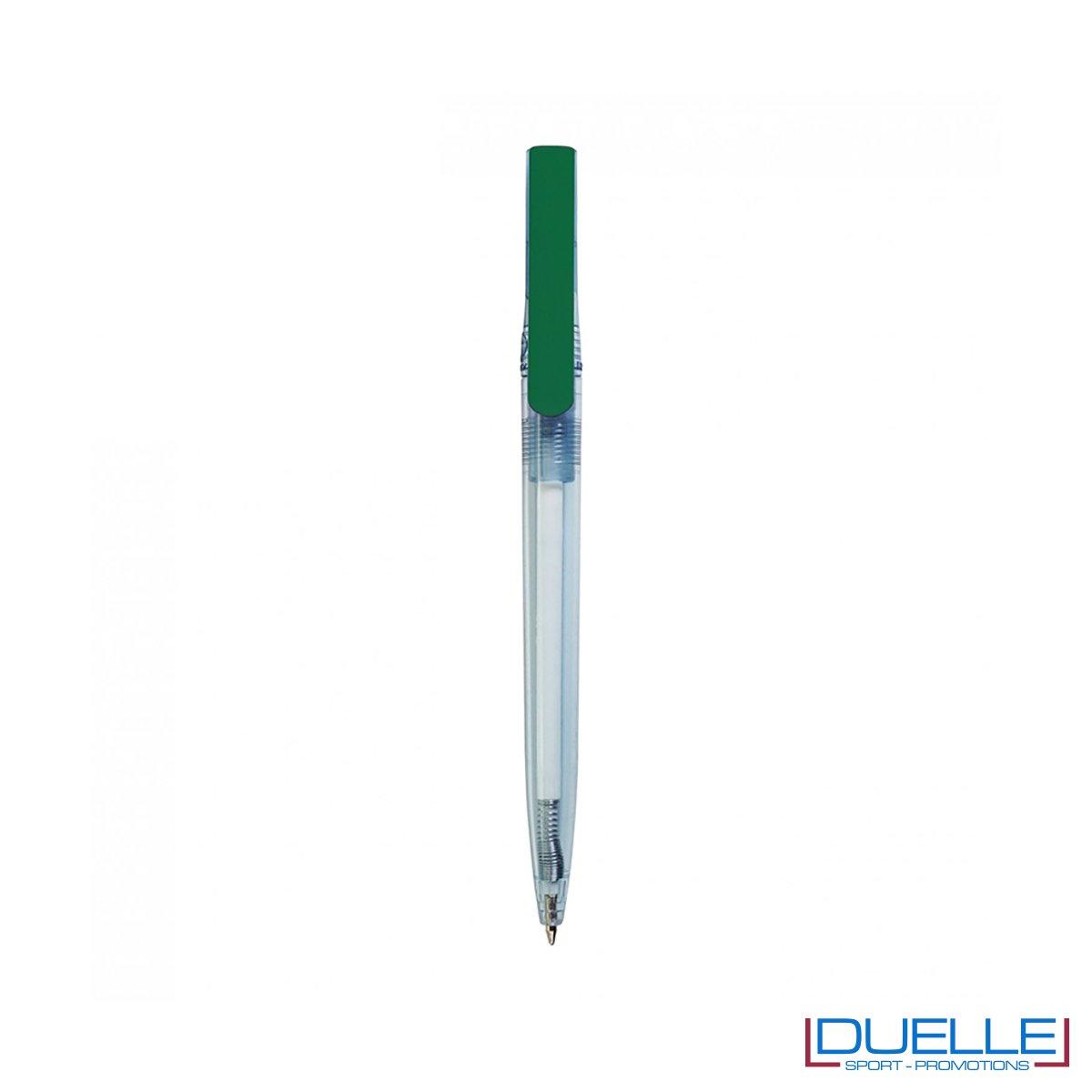 Penna in R-pet 100% riciclata clip colore verde