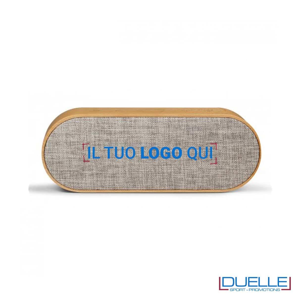 Speaker bluetooth in legno FSC personalizzato con stampa a colori