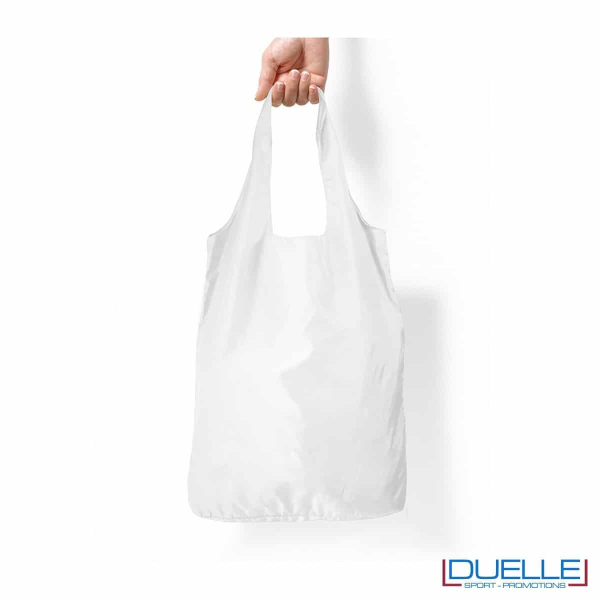Shopper in R-pet ripiegabile personalizzata colore bianco
