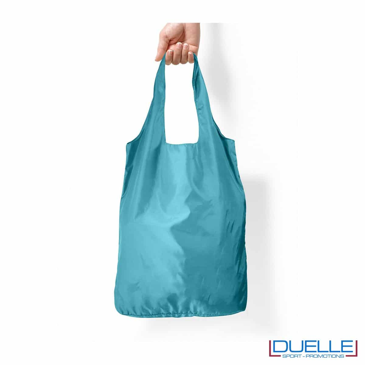 Shopper in R-pet ripiegabile personalizzata colore azzurro