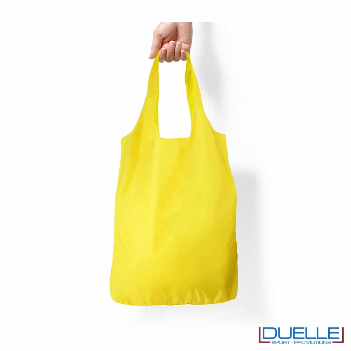 Shopper in R-pet ripiegabile personalizzata colore giallo