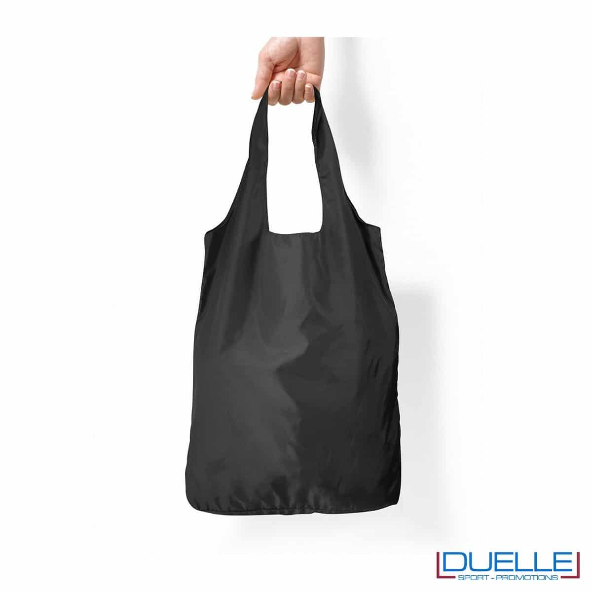 Shopper in R-pet ripiegabile personalizzata colore nero
