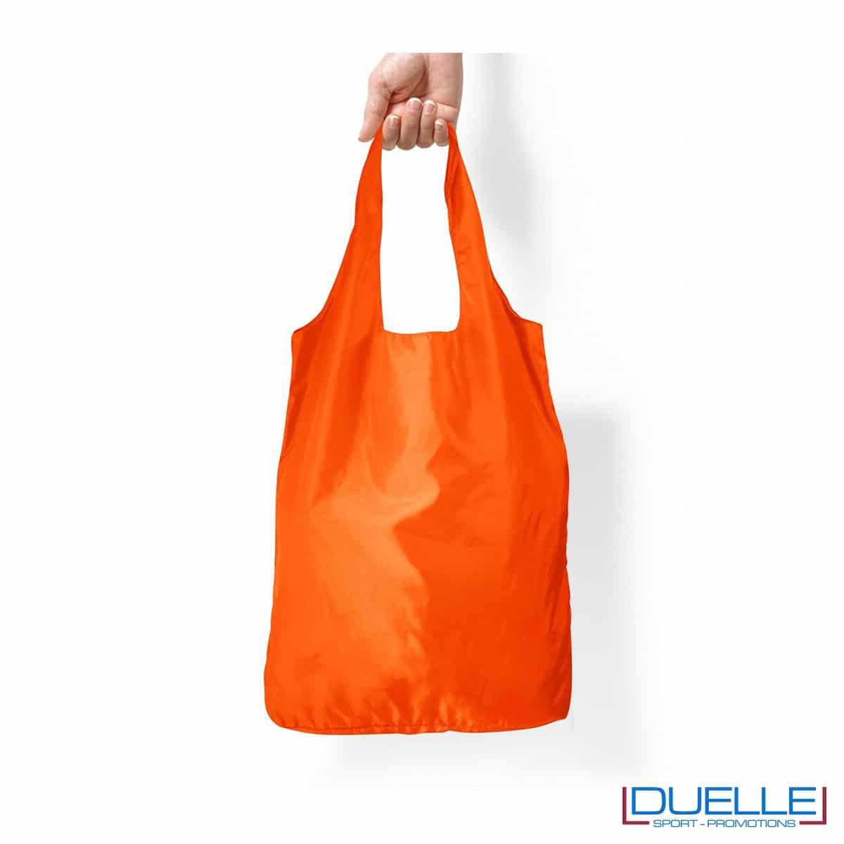 Shopper in R-pet ripiegabile personalizzata colore arancione