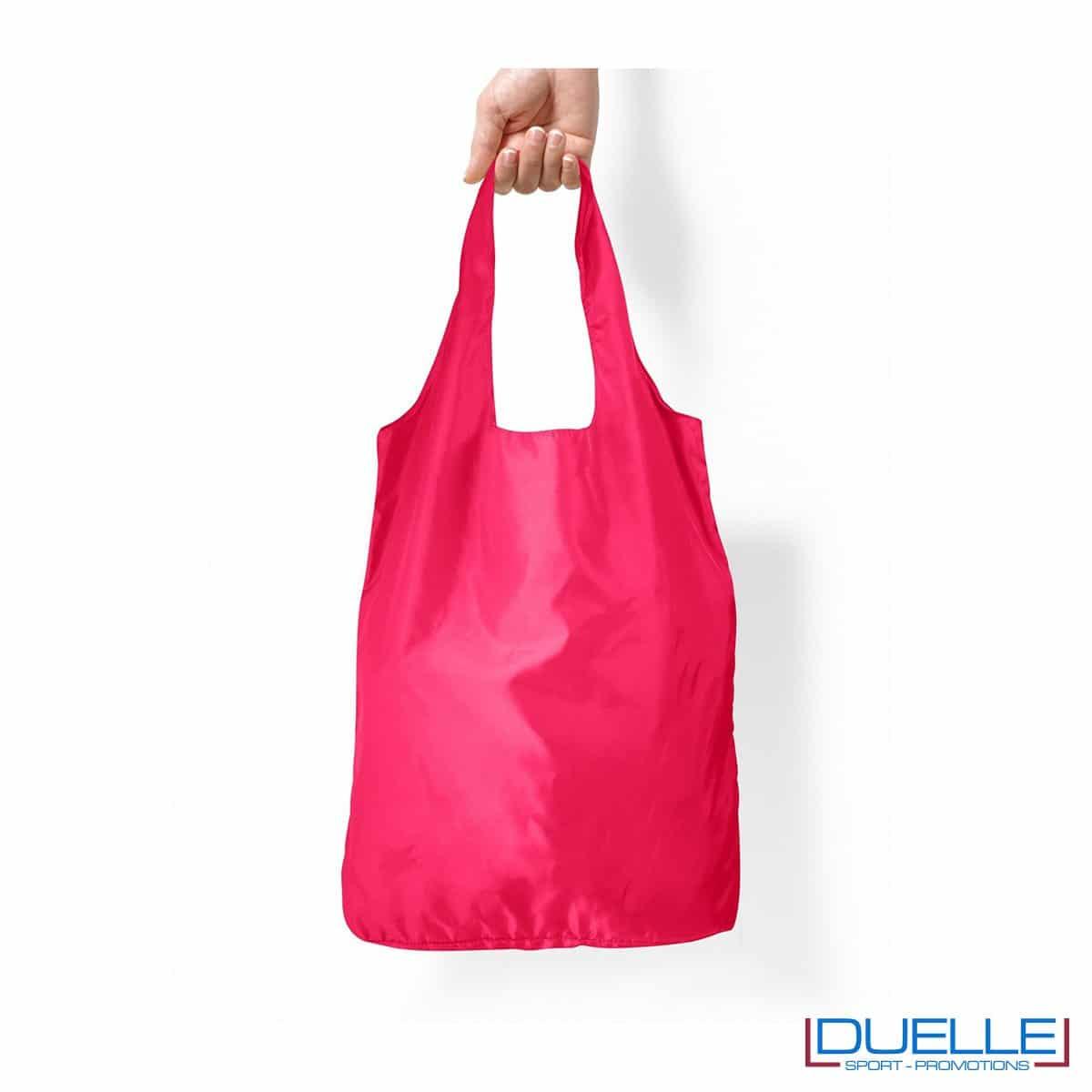 Shopper in R-pet ripiegabile personalizzata colore rosa
