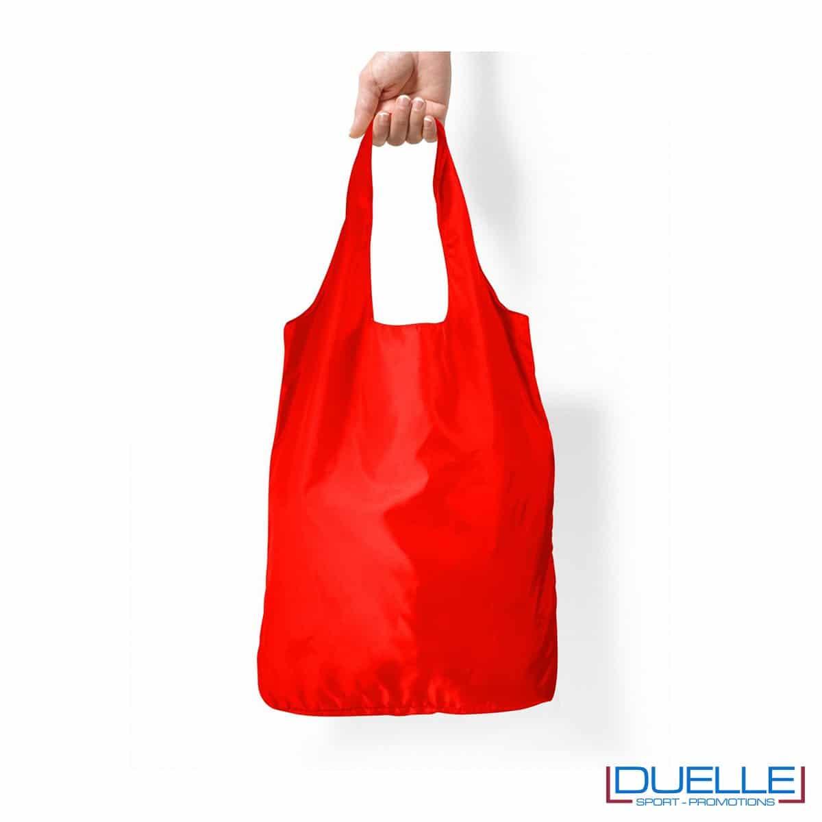 Shopper spesa in R-pet ripiegabile personalizzata colore rosso