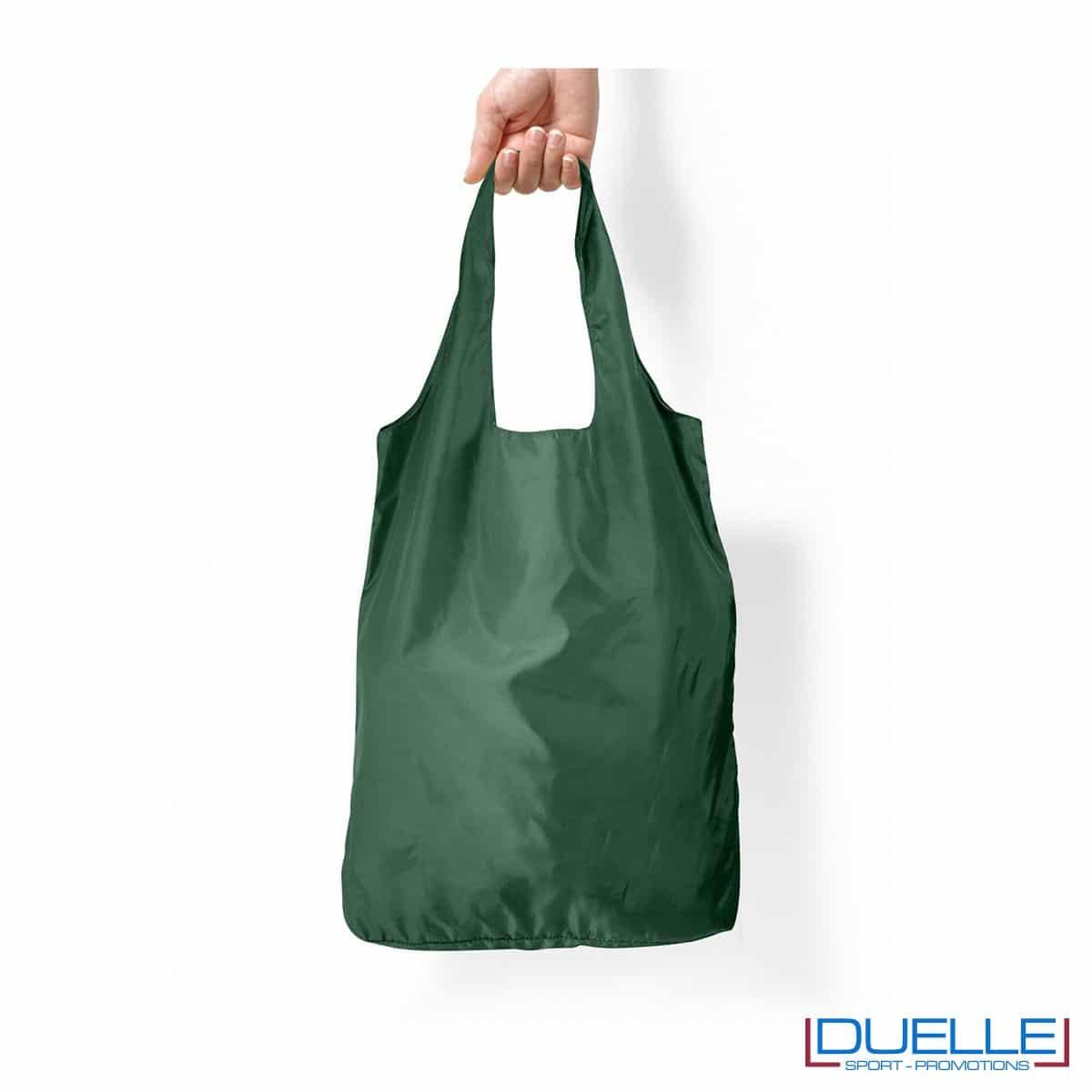 Shopper spesa in R-pet ripiegabile personalizzata colore verde