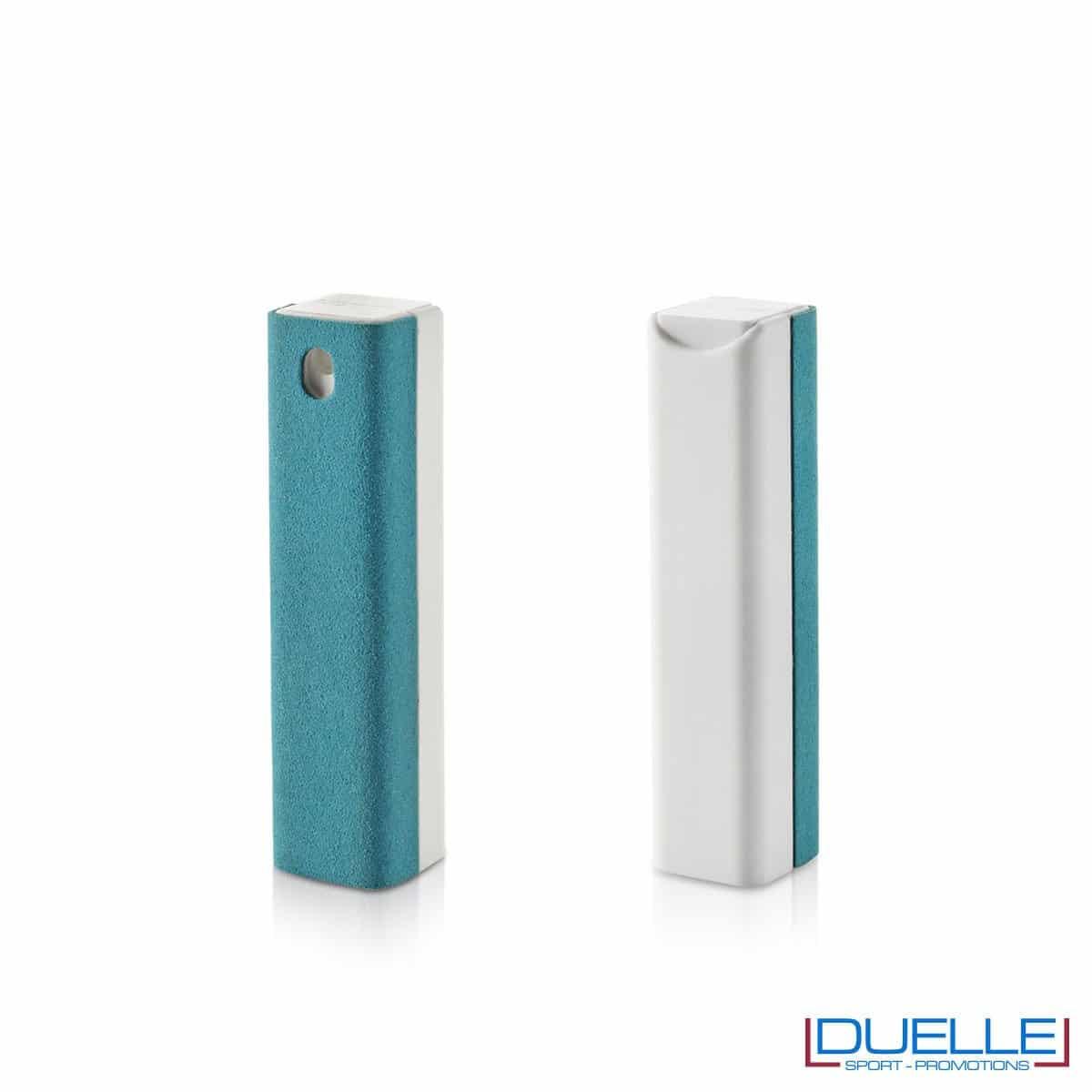 spray per la pulizia di device personalizzabile con stampe, colore azzurro