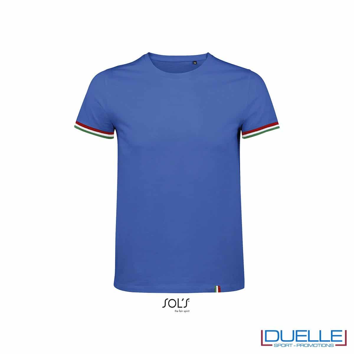 T-shirt girocollo cotone tricolore personalizzata colore blu royal