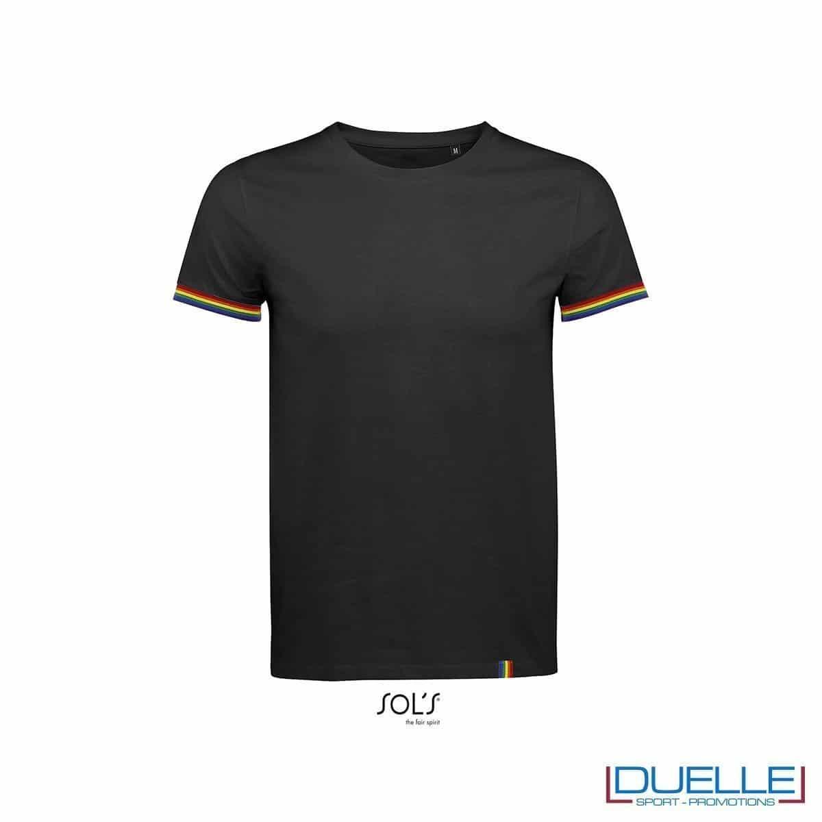 T-shirt girocollo cotone tricolore personalizzata colore nero