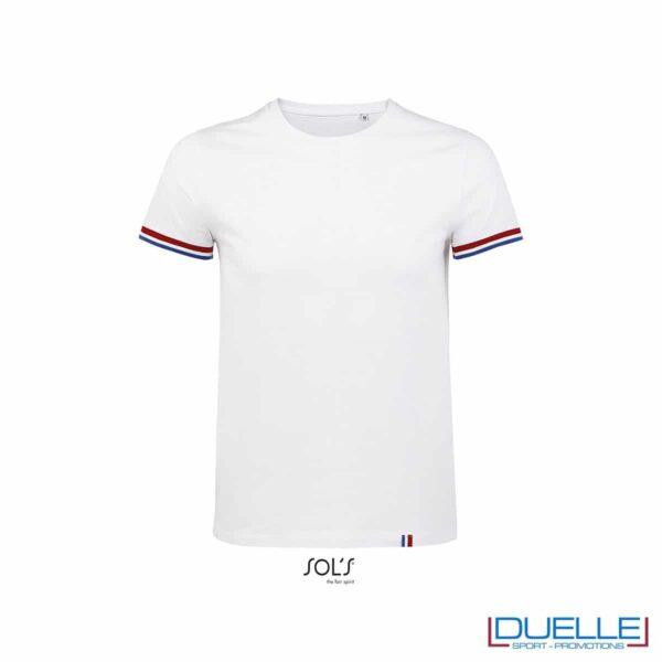 T-shirt girocollo cotone tricolore blu personalizzata colore bianco