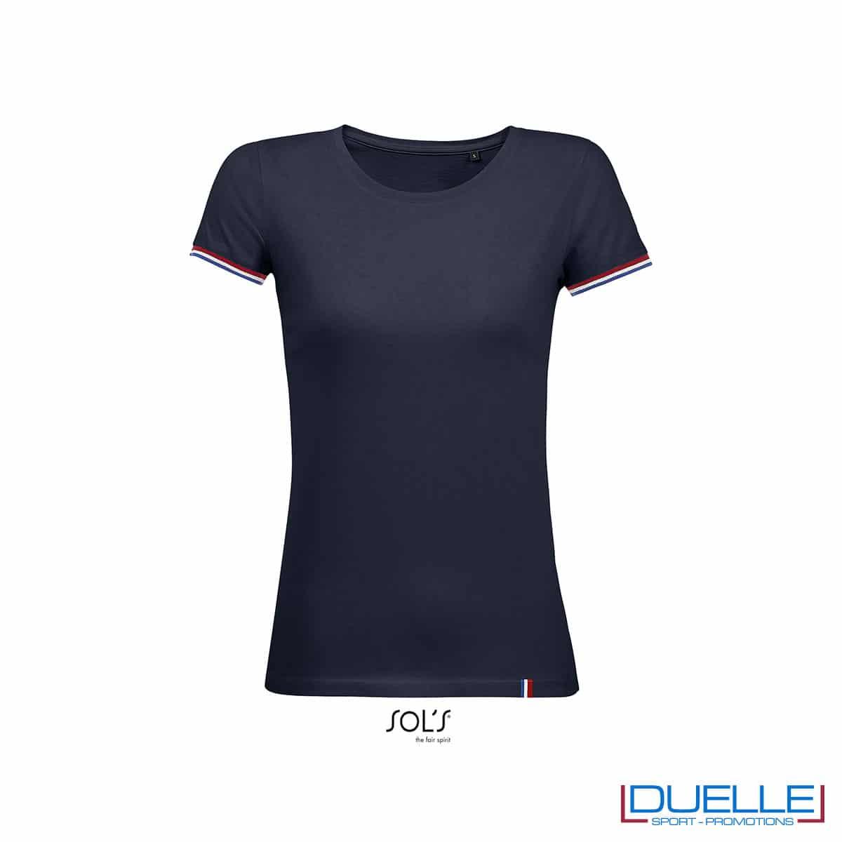 t-shirt donna blu scuro con dettaglio manica