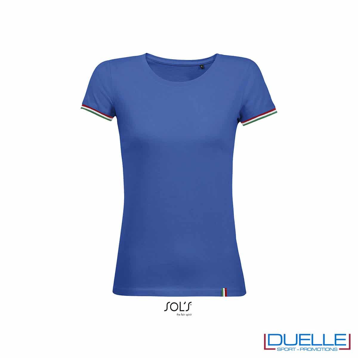 maglietta donna blu con dettaglio italia