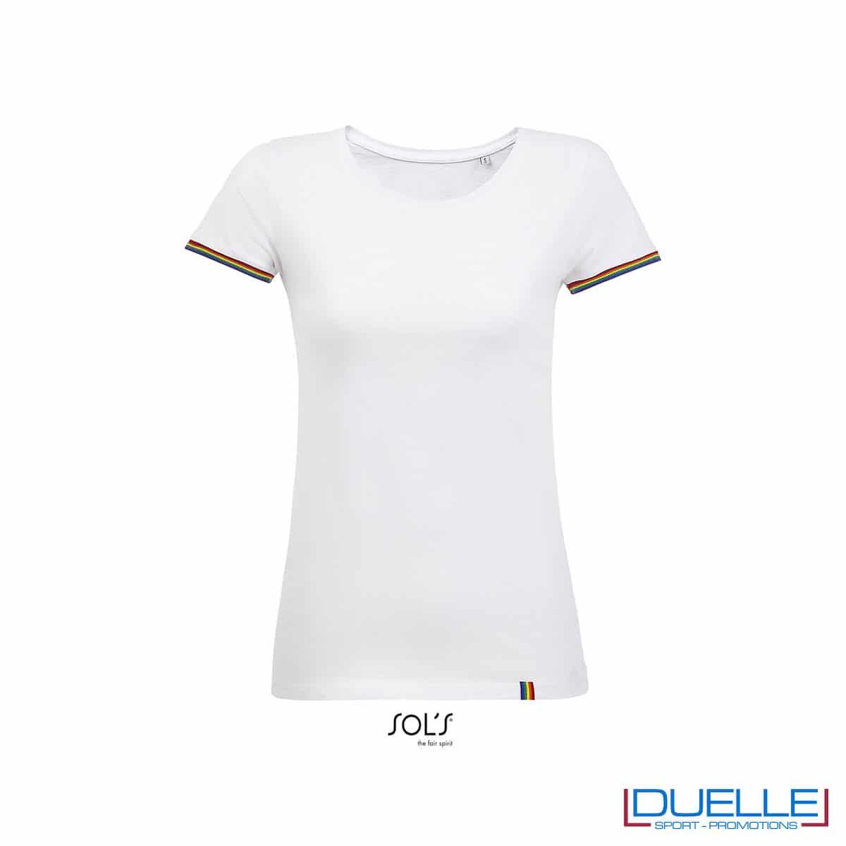 maglia donna bianca e arcobaleno