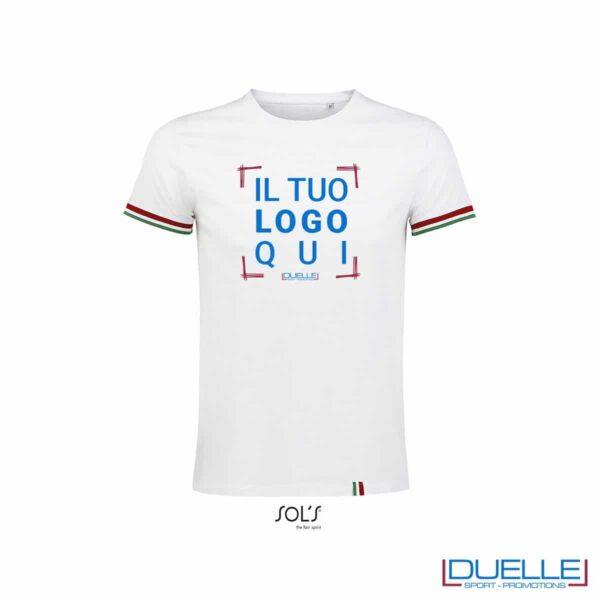 T-shirt girocollo cotone tricolore personalizzata colore bianco