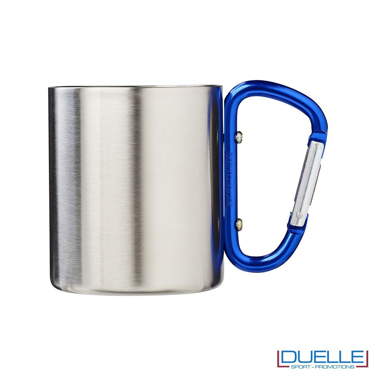 Tazza termica personalizzata con moschettone colore blu