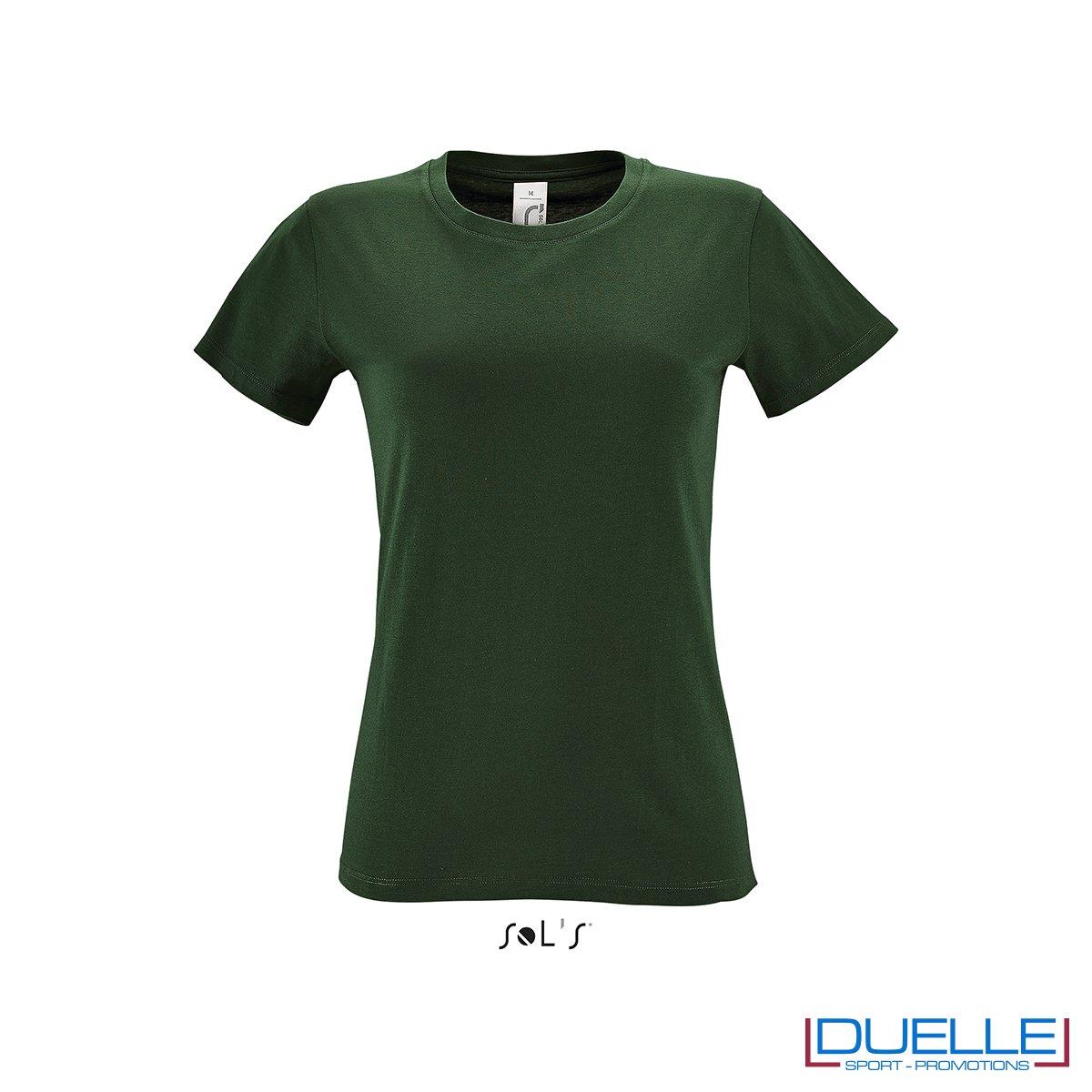 t-shirt donna personalizzata economica in colore verde bottiglia