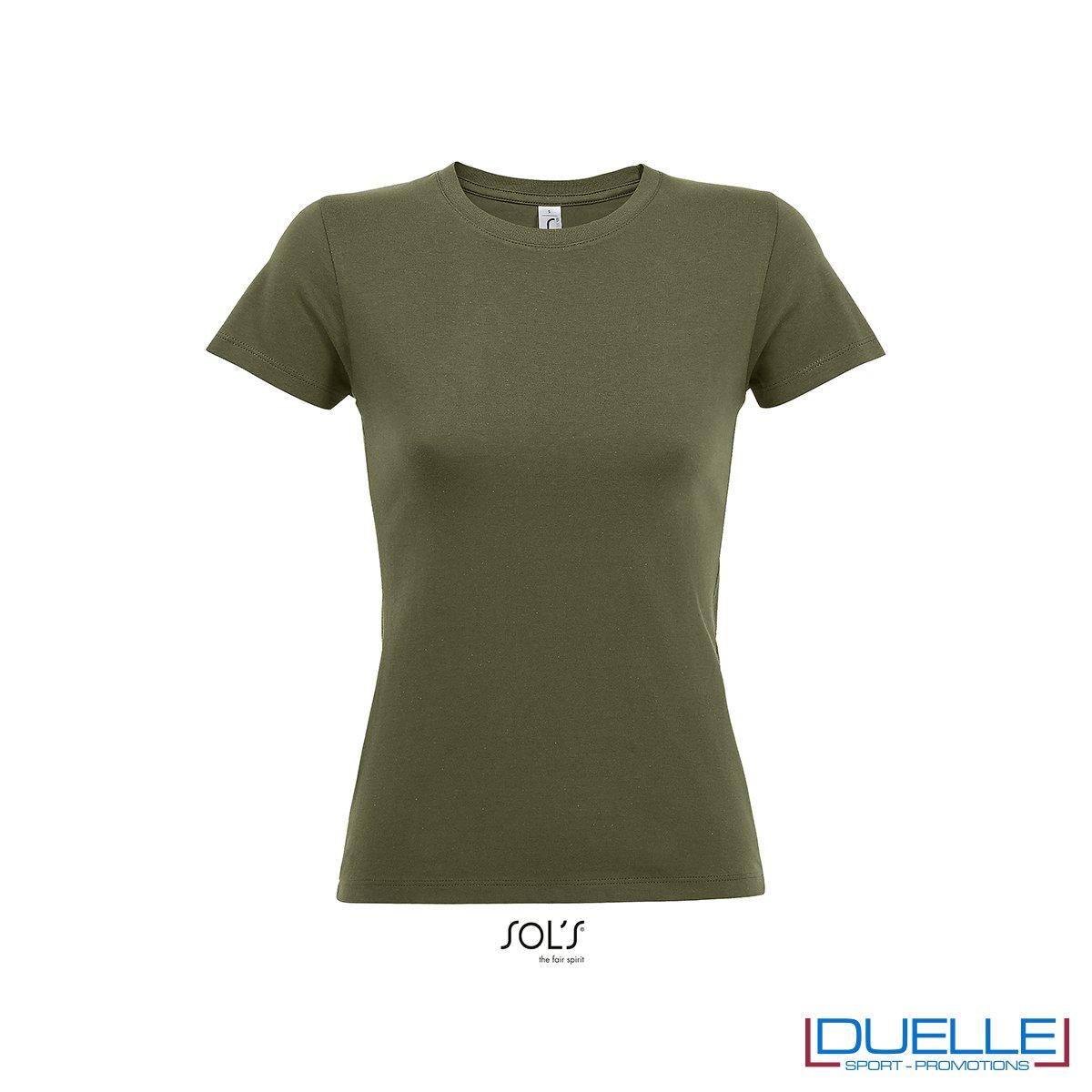t-shirt da donna in colore verde militare personalizzate