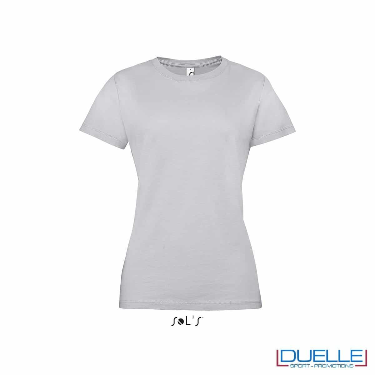 Maglietta personalizzata economica in colore grigio cenere da donna