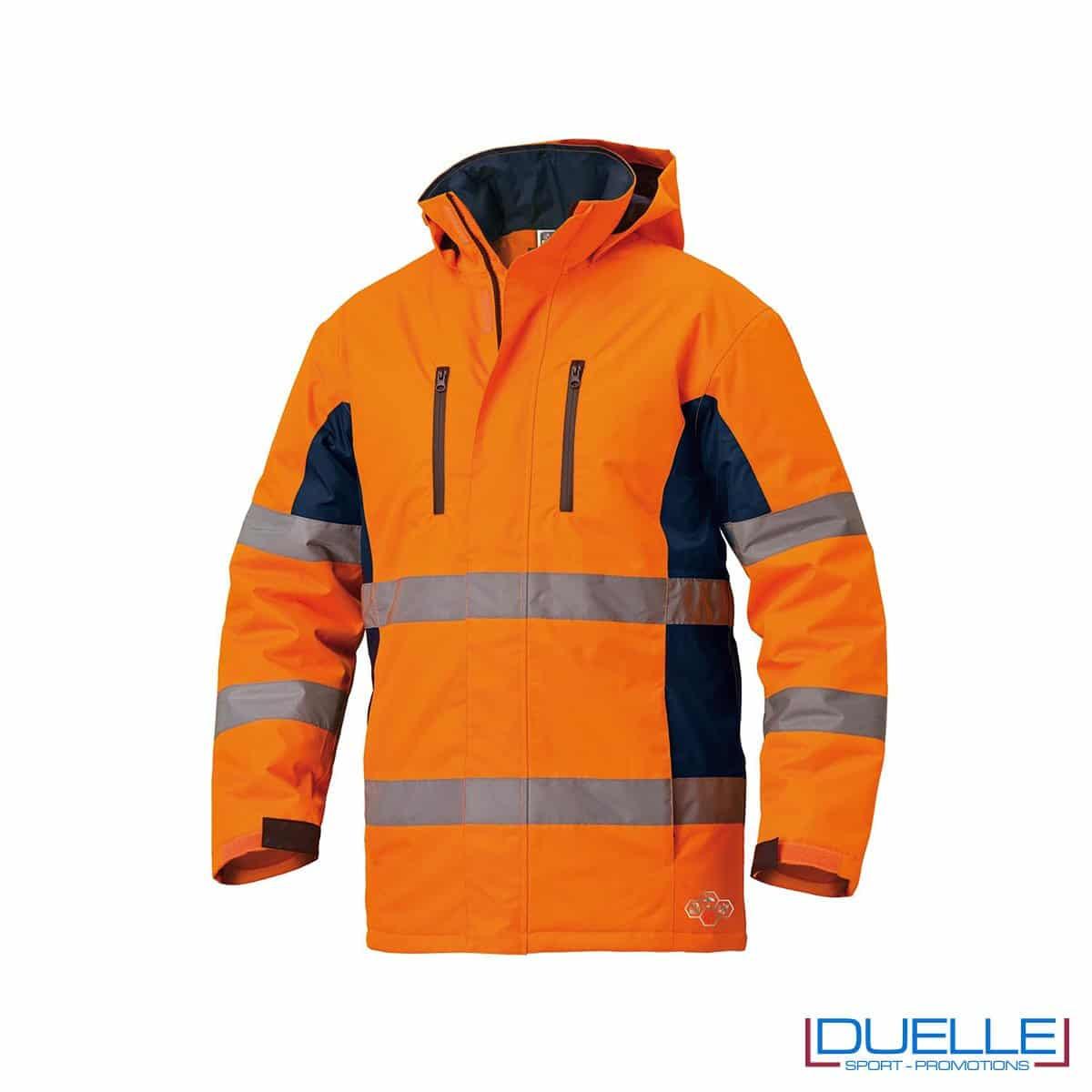 Giubbotto alta visibilità con logo aziendale in colore arancione