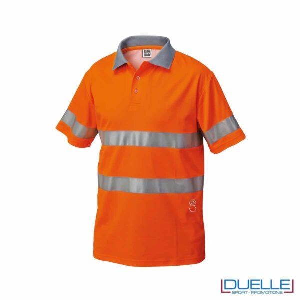 Polo alta visibilità personalizzata in colore arancione
