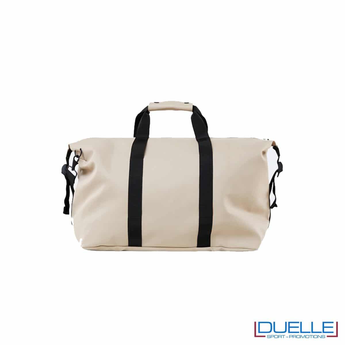 rains weekend bag impermeabile personalizzato colore beige