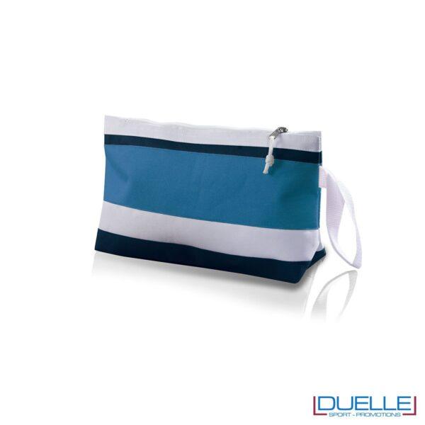 Pochette da spiaggia personalizzata in colore azzurro