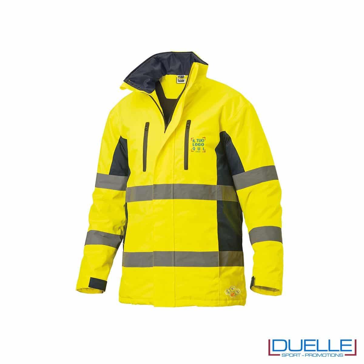 Giacca alta visibilità personalizzata in colore giallo fluo