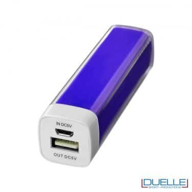powerbank personalizzato da 2200 mAh colore bianco, powerbank per smartphone personalizzato colore viola