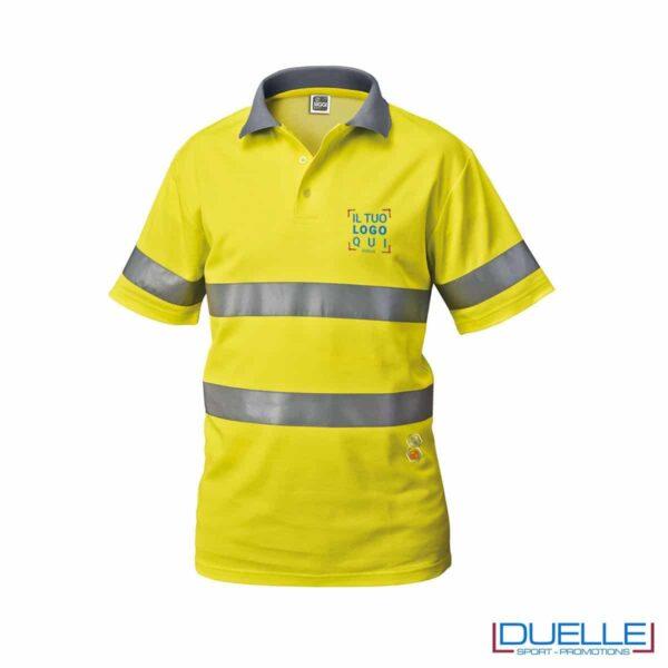 Polo alta visibilità personalizzata in colore giallo