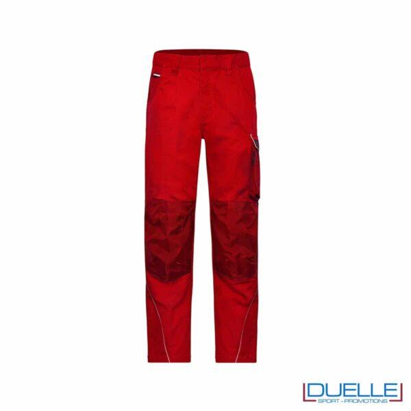 pantalone lungo da lavoro personalizzato in colore rosso