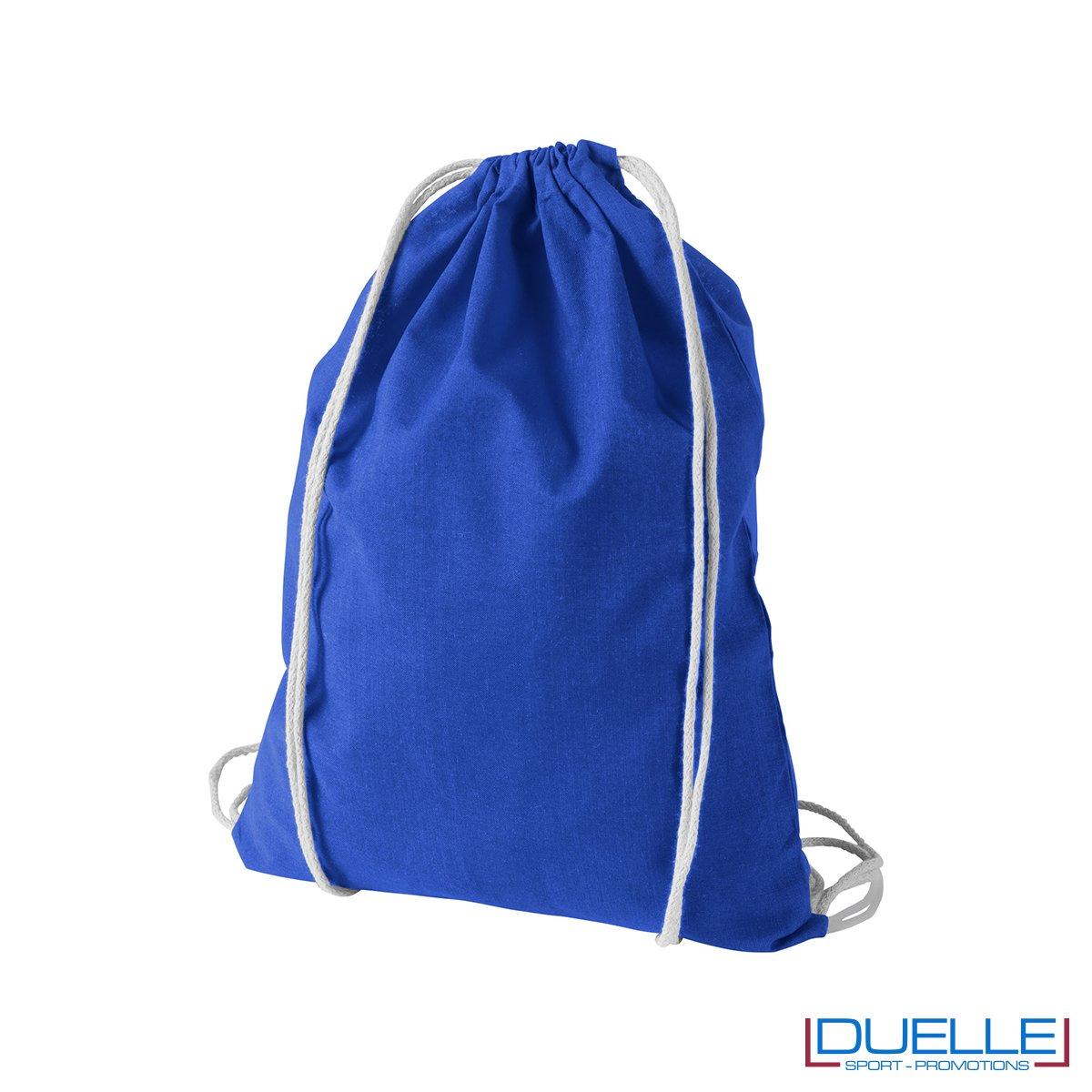 Zainetto economico in cotone colore blu royal
