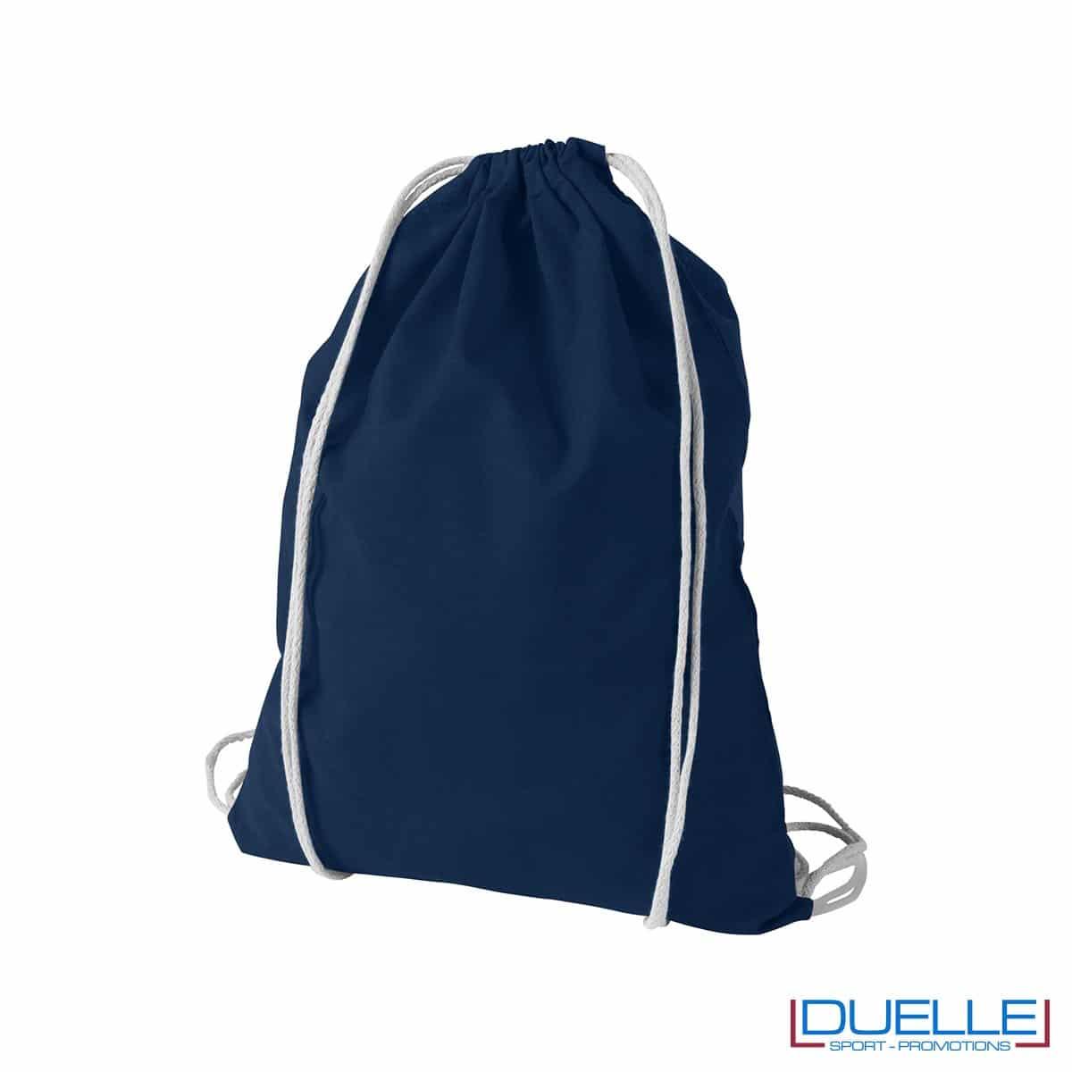 Zainetto economico in cotone colore blu navy personalizzabile