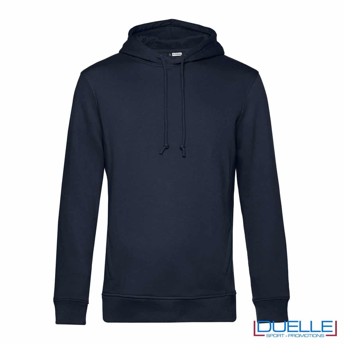 Felpa eco-friendly in cotone e R-PET blu navy