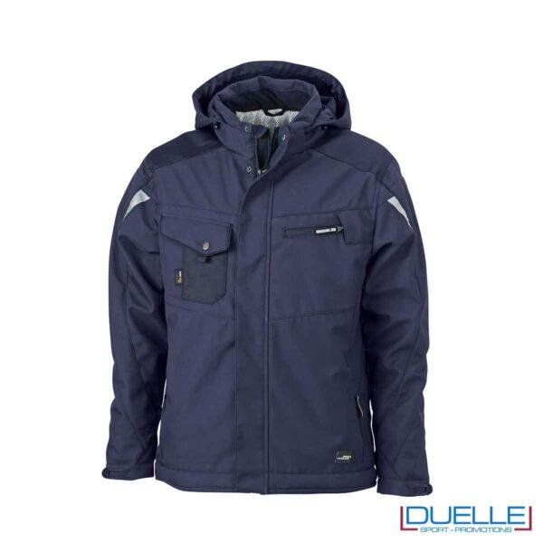 Giacca da lavoro personalizzata in softshell blu navy