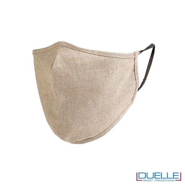 Mascherina protettiva lavabile in cotone riciclato personalizzabile con stampe