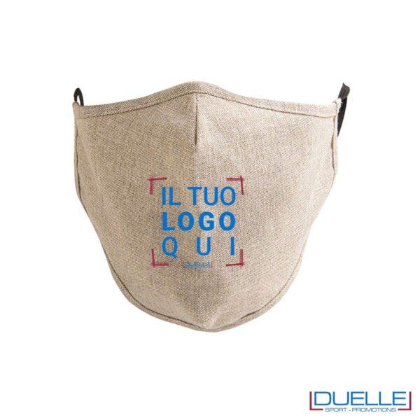 Mascherine 3 strati lavabili in cotone riciclato personalizzate con stampa del tuo logo