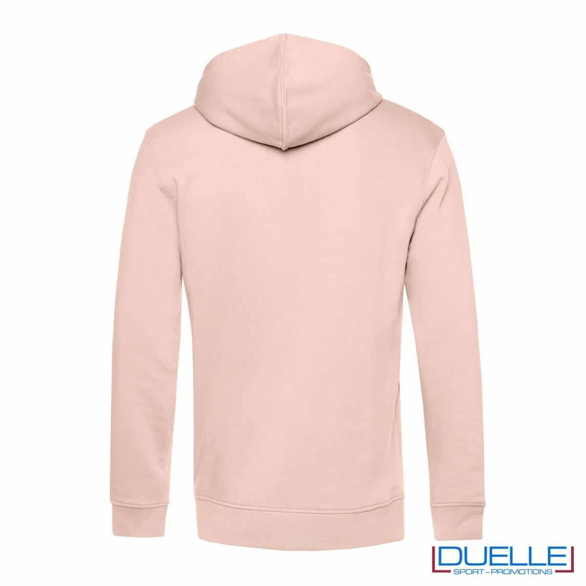 Felpa in cotone e R-PET con cappuccio rosa chiaro retro
