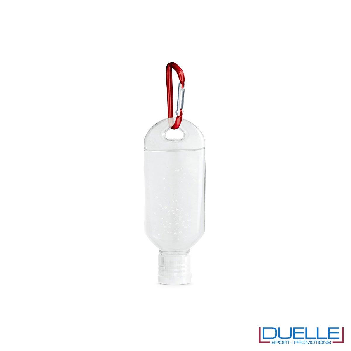 gel igienizzante personalizzato con moschettone rosso