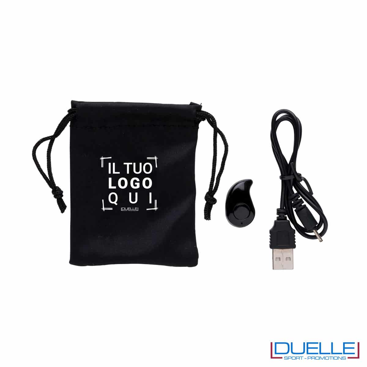 Auricolare wireless con microfono completo di cavo e cusotdia