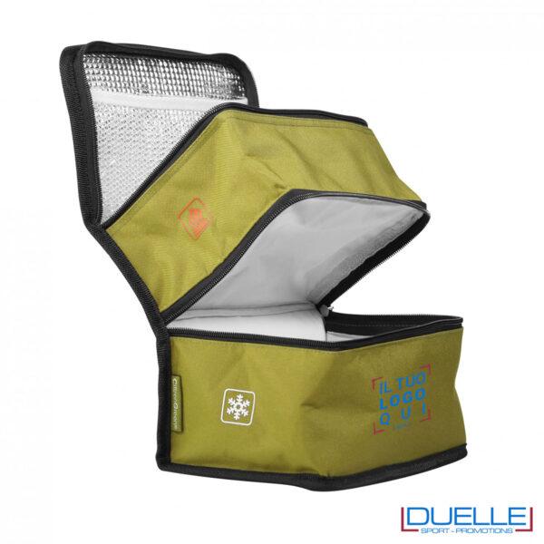 Borsa termica doppio scomparto kaki aperta personalizzabile