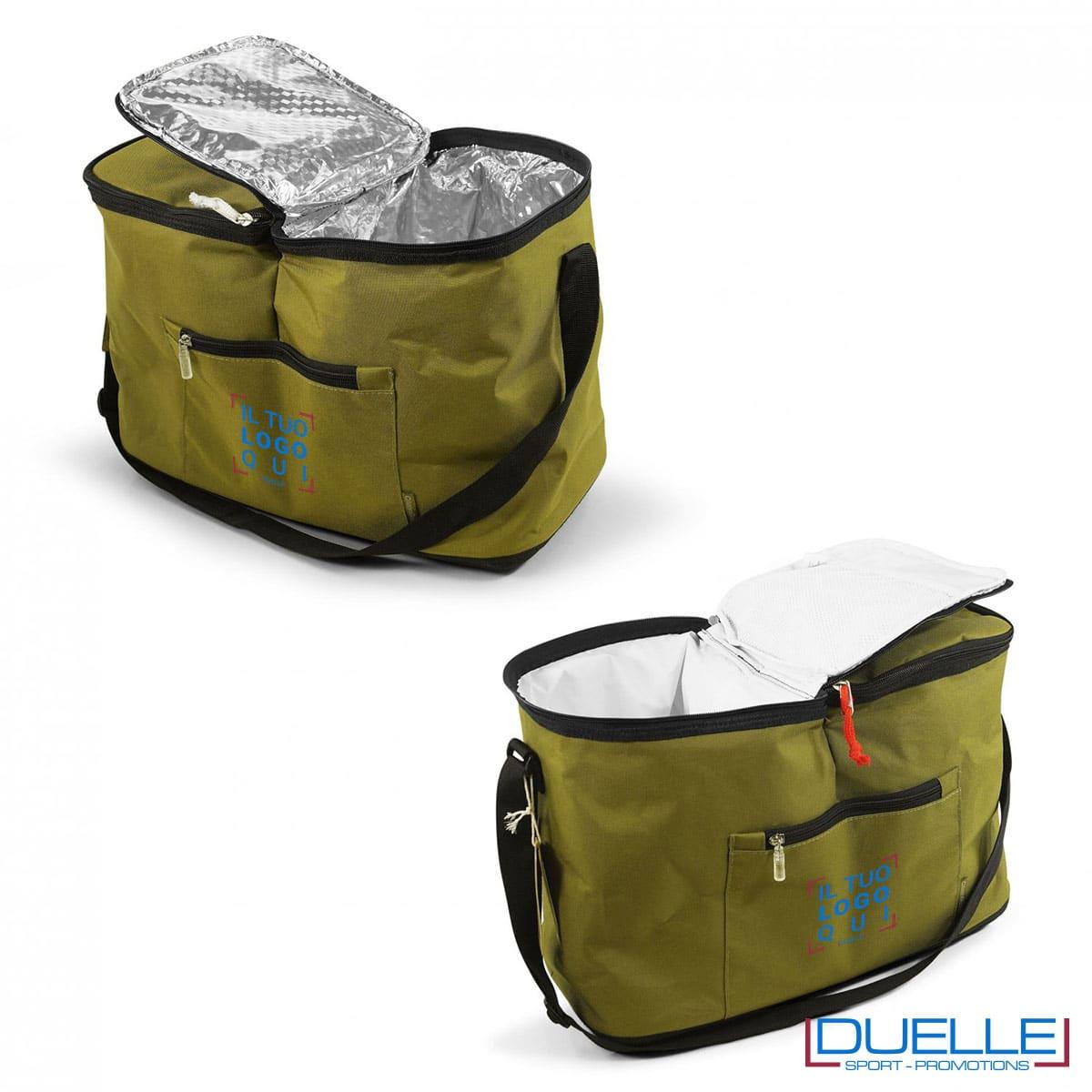Porta pranzo kaki doppia tasca termica