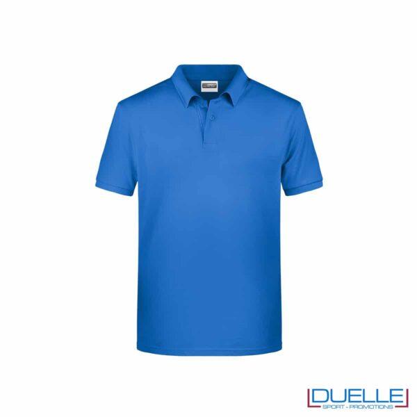 Polo ecologica 100% cotone organico colore blu cobalto