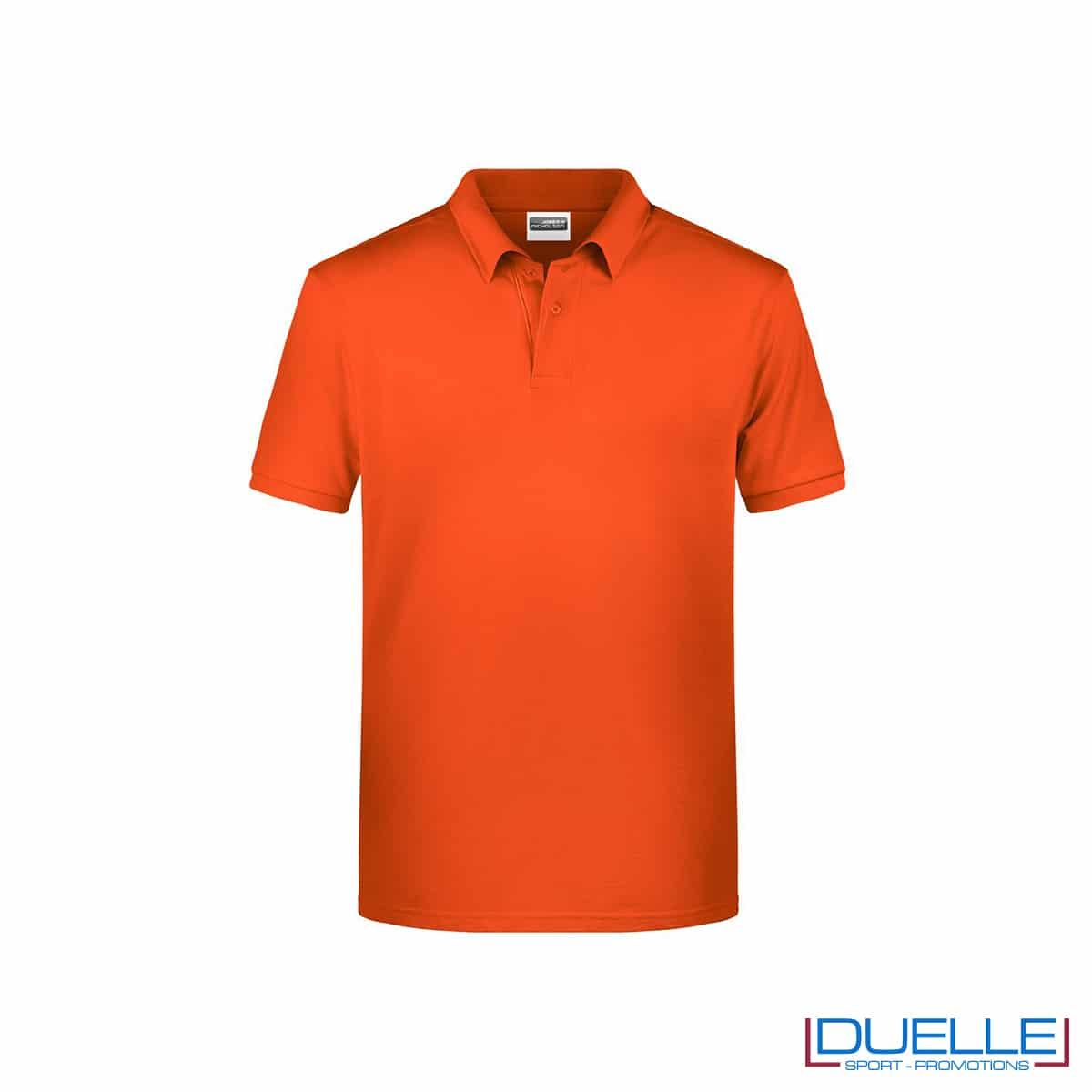 Polo ecologica 100% cotone organico colore arancione scuro